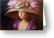 Purple Painting Greeting Cards - The Hat Greeting Card by Loretta Fasan