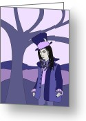 Mad Hatter Digital Art Greeting Cards - The Hatter Greeting Card by Monica Jeanne