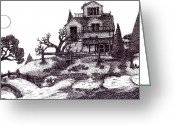 "\\\""haunted House\\\\\\\"" Drawings Greeting Cards - The Haunted House Greeting Card by Joella Reeder"