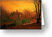 "\\\""haunted House\\\\\\\"" Greeting Cards - The Haunted House Greeting Card by John Atkinson Grimshaw"