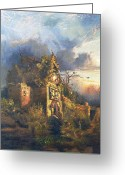 Scary Mansion Greeting Cards - The Haunted House Greeting Card by Thomas Moran
