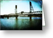 Aged Digital Art Greeting Cards - The Hawthorne Bridge Greeting Card by Cathie Tyler