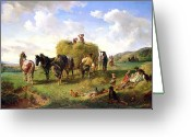 Spring Scenes Painting Greeting Cards - The Hay Harvest Greeting Card by Hermann Kauffmann