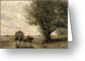 Livestock Painting Greeting Cards - The Haycart Greeting Card by Jean Baptiste Camille Corot