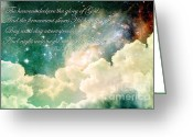 Glowing Moon Greeting Cards - The Heavens Declare Greeting Card by Stephanie Frey