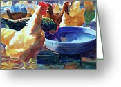 Purple House Greeting Cards - The Henhouse Watering Hole Greeting Card by Kathy Braud