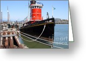 Boats Greeting Cards - The Hercules . A 1907 Steam Tug Boat At The Hyde Street Pier in San Francisco California . 7D14137 Greeting Card by Wingsdomain Art and Photography