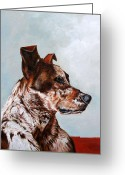 Fine Art - Animals Greeting Cards - The Herding Dog Greeting Card by Enzie Shahmiri