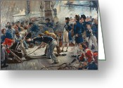 Fighting Painting Greeting Cards - The Hero of Trafalgar Greeting Card by William Heysham Overend