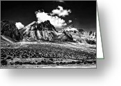 High Country Greeting Cards - The High Andes monochrome Greeting Card by Steve Harrington