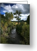 River. Clouds Greeting Cards - The High Road to Taos Greeting Card by Timothy Johnson