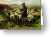 Flock Greeting Cards - The Highland Shepherd Greeting Card by Rosa Bonheur