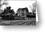 Black And White Barn Greeting Cards - The Highlands Farm Greeting Card by Bill Cannon