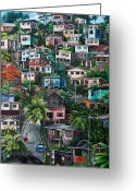 Hill Painting Greeting Cards - THE HILL     Trinidad  Greeting Card by Karin Best