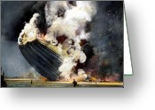 Human Being Photo Greeting Cards - The Hindenburg, 1937 Greeting Card by Granger