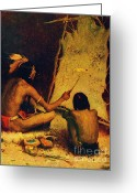  Tribal Prints Greeting Cards - The Historian Greeting Card by Pg Reproductions