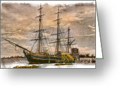 Harbors Greeting Cards - The HMS Bounty Greeting Card by Debra and Dave Vanderlaan