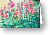 Wet In Wet Watercolor Greeting Cards - The Hollyhock Field Greeting Card by Judith Kerrigan Ribbens