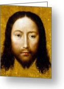 Jesus Christ Icon Greeting Cards - The Holy Face Greeting Card by Flemish School