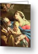 Cherubs Greeting Cards - The Holy Family Greeting Card by Gaetano Gandolfi