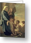 Poussin Greeting Cards - The Holy Family Greeting Card by Nicolas Poussin