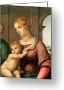 Jesus Painting Greeting Cards - The Holy Family Greeting Card by Raphael