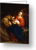 Adoration Greeting Cards - The Holy Family with Saint Francis Greeting Card by Jacob van Oost