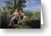Poussin Greeting Cards - The Holy Family with SS John Elizabeth and the Infant John the Baptist Greeting Card by Nicolas Poussin