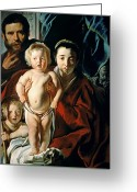 Rosary Greeting Cards - The Holy Family with St. John the Baptist Greeting Card by Jacob Jordaens