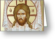 Holy Napkin Painting Greeting Cards - The Holy Napkin  Greeting Card by Julia Bridget Hayes