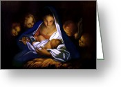 Baby Jesus Greeting Cards - The Holy Night Greeting Card by Carlo Maratta