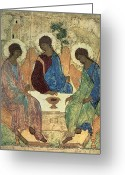 Icon  Painting Greeting Cards - The Holy Trinity Greeting Card by Andrei Rublev