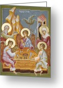 Icon Byzantine Greeting Cards - The Holy Trinity Greeting Card by Julia Bridget Hayes