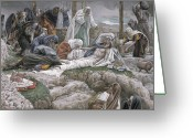 Jesus Painting Greeting Cards - The Holy Virgin Receives the Body of Jesus Greeting Card by Tissot