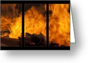Aflame Greeting Cards - The Home Fires Are Burning Triptych Greeting Card by Kathy Clark