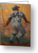 Bat Pastels Greeting Cards - The Homerun King Greeting Card by Tom Forgione
