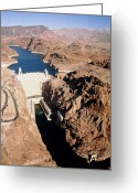 Hydroelectric Greeting Cards - The Hoover Dam, Colorado River. Greeting Card by David Parker