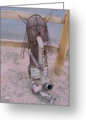 Landscapes Sculpture Greeting Cards - The Horny Viking Greeting Card by JP Giarde