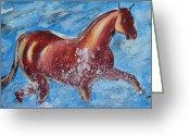Caballo Greeting Cards - The Horse and the Sea Greeting Card by Ion vincent DAnu
