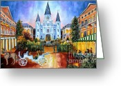 Buildings Painting Greeting Cards - The Hours on Jackson Square Greeting Card by Diane Millsap