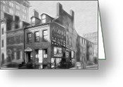 Old Street Drawings Greeting Cards - The House at the Corner Greeting Card by Stefan Kuhn