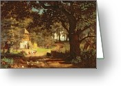 Livestock Painting Greeting Cards - The House in the Woods Greeting Card by Albert Bierstadt
