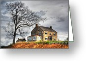 Scary Mansion Greeting Cards - The House on the Hill Greeting Card by Dan Stone