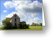 Haunted Home Greeting Cards - The House On the Hill Greeting Card by Karen Wiles