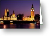 Politics Greeting Cards - The Houses Of Parliament At Night, London Greeting Card by Lothar Schulz