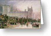 Great Painting Greeting Cards - The Houses of Parliament in Course of Erection Greeting Card by John Wilson Carmichael