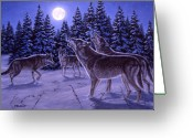 Howling Wolf Greeting Cards - The Howling Greeting Card by Richard De Wolfe
