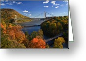 Hudson River Greeting Cards - The Hudson River Valley in Autumn Greeting Card by June Marie Sobrito