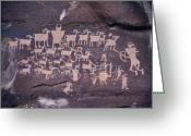 Rock Drawings Greeting Cards - The Hunt Scene- Ancient Pueblo-anasazi Greeting Card by Ira Block