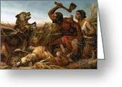 American History Painting Greeting Cards - The Hunted Slaves Greeting Card by Richard Ansdell